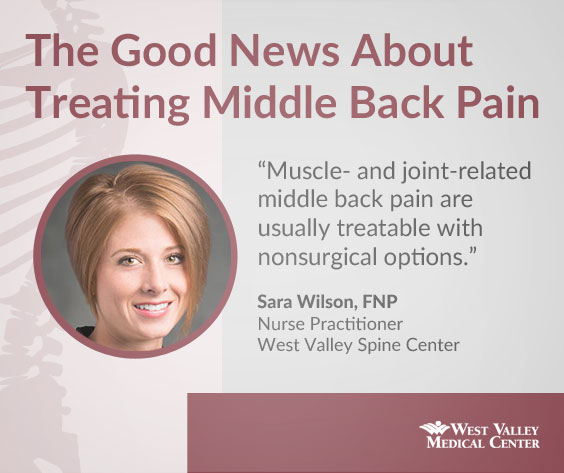 Muscle and joint related middle back pain are usually treatable with non-surgical options.